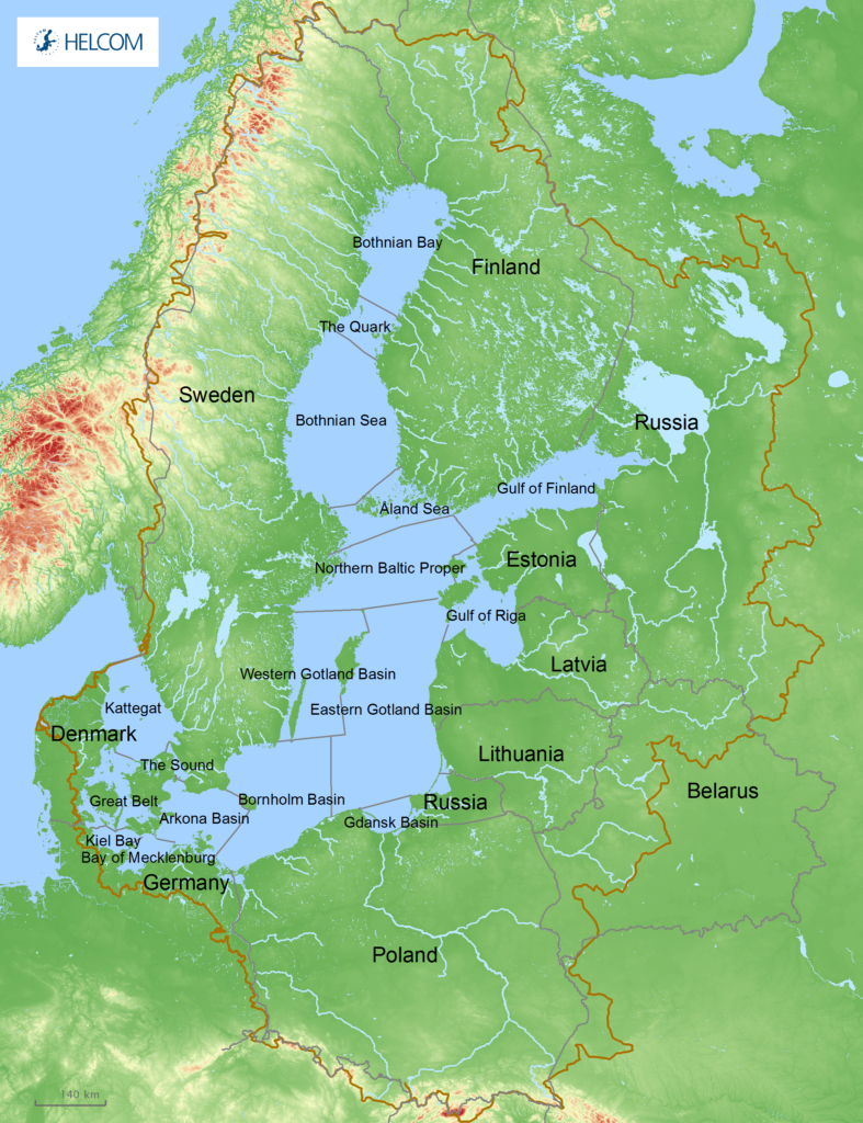 Figure 1.1. The Baltic Sea is surrounded by nine countries, covers an area of around 420 000 km2, and has a drainage area around four times the size.