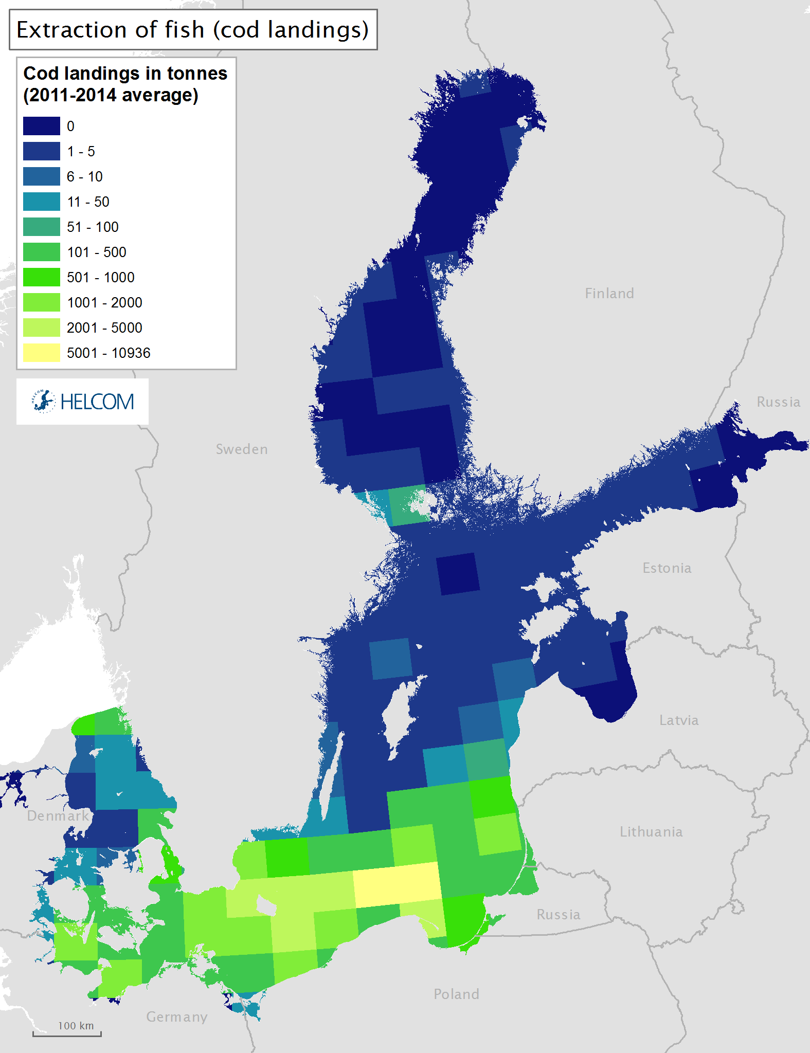 Figure 3.6.a Spatial distribution of commercial landings of cod in the Baltic Sea.