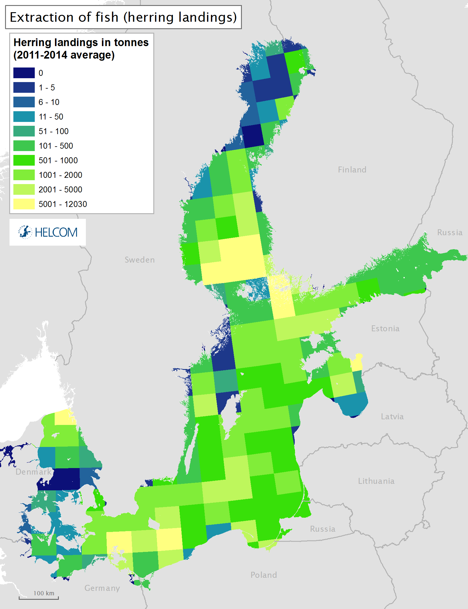 Figure 3.6.b Spatial distribution of commercial landings of herring in the Baltic Sea.