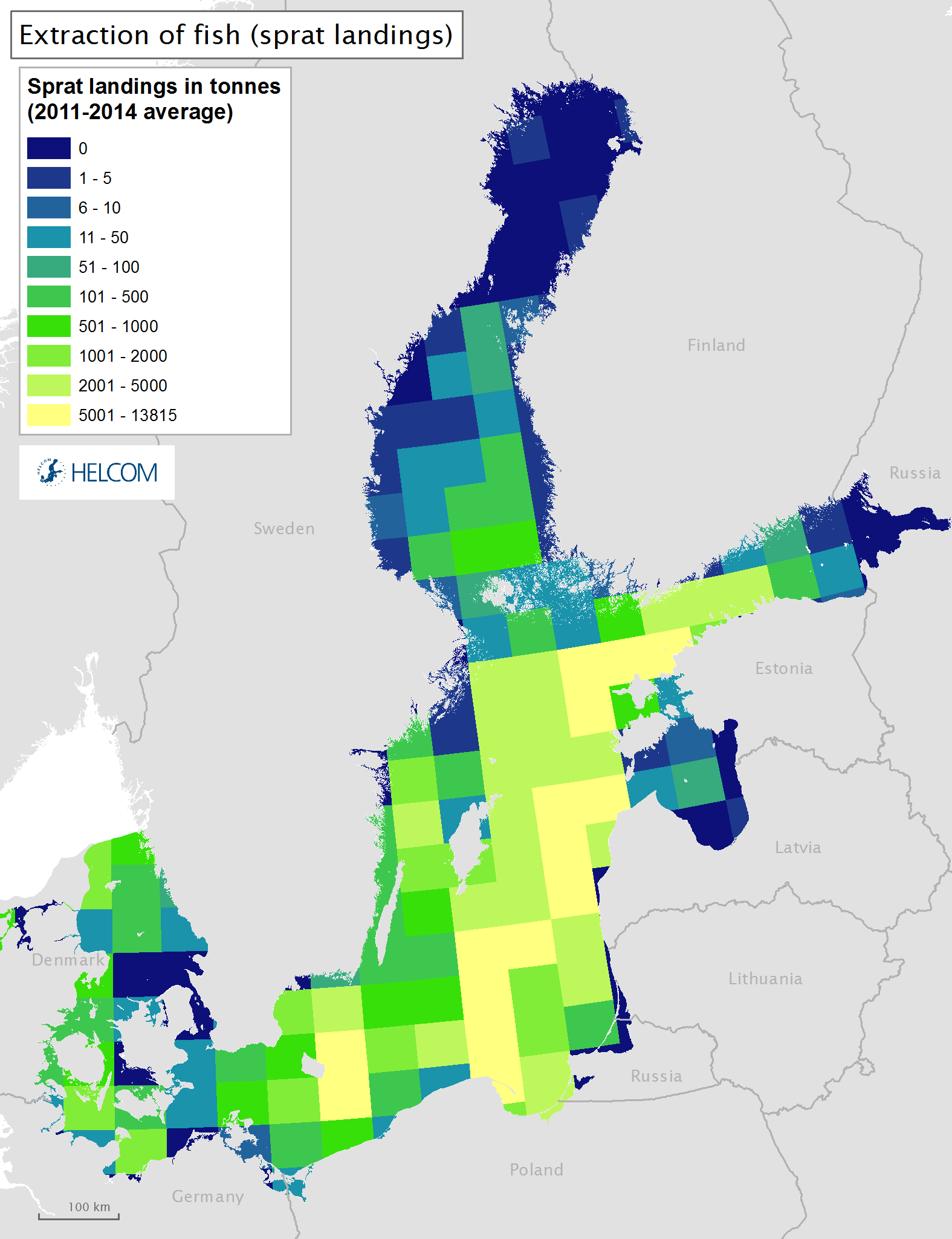 Figure 3.6.c Spatial distribution of commercial landings of sprat in the Baltic Sea.