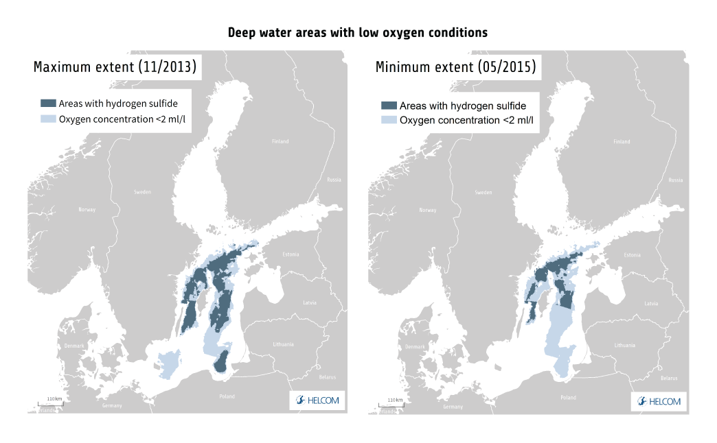 Figure 1.10. Poor Oxygen Conditions At The Sea Floor Restrict Productivity And Biodiversity In The Baltic Sea. The Maps Show The Minimum And Maximum Distribution Of Anoxic Areas In The Deep-water (where Hydrogen Sulphide Is Present) And Areas With Less Than 2 Ml/l Oxygen During 2011–2016, Based On Point Measurements And Modelling. Data From Leibniz Institute For Baltic Sea Research Warnemünde. See Also Feistel Et Al. (2016). Due To The Range Of Input Data Used, The Map May Not Correctly Reflect The Situation In The Gulf Of Finland.