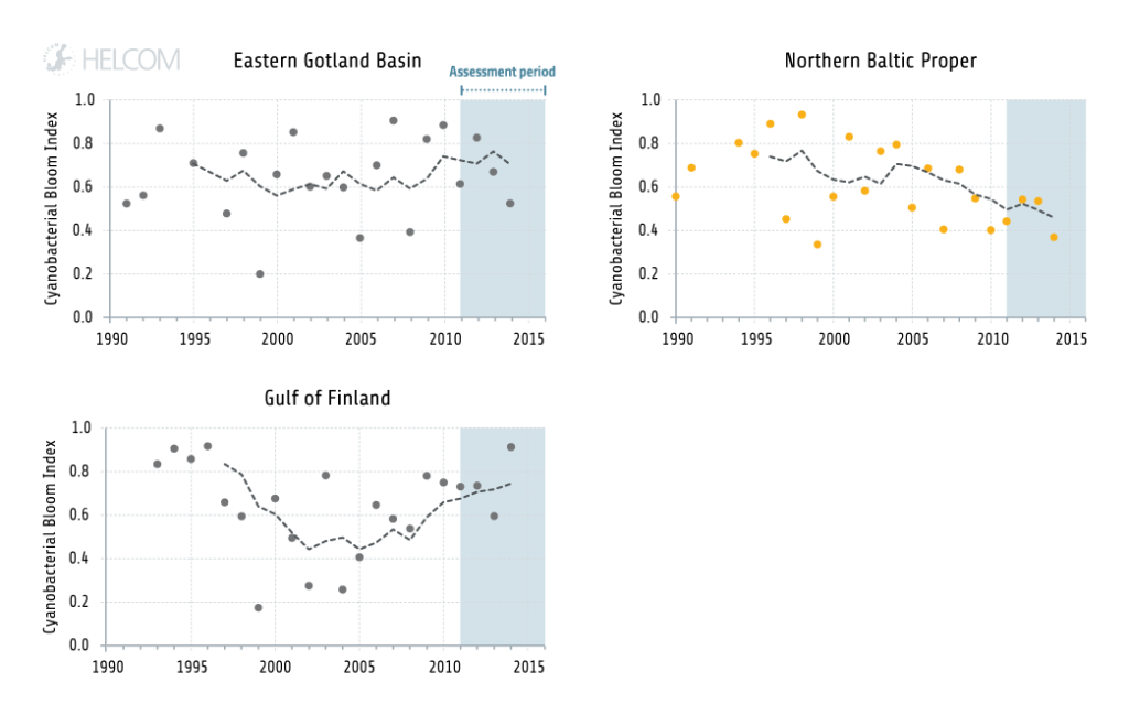 Figure 4.1.13. Example of long term trends in the indirect effects of eutrophication in the Baltic Sea: Temporal development of the 'Cyanobacterial bloom index'.