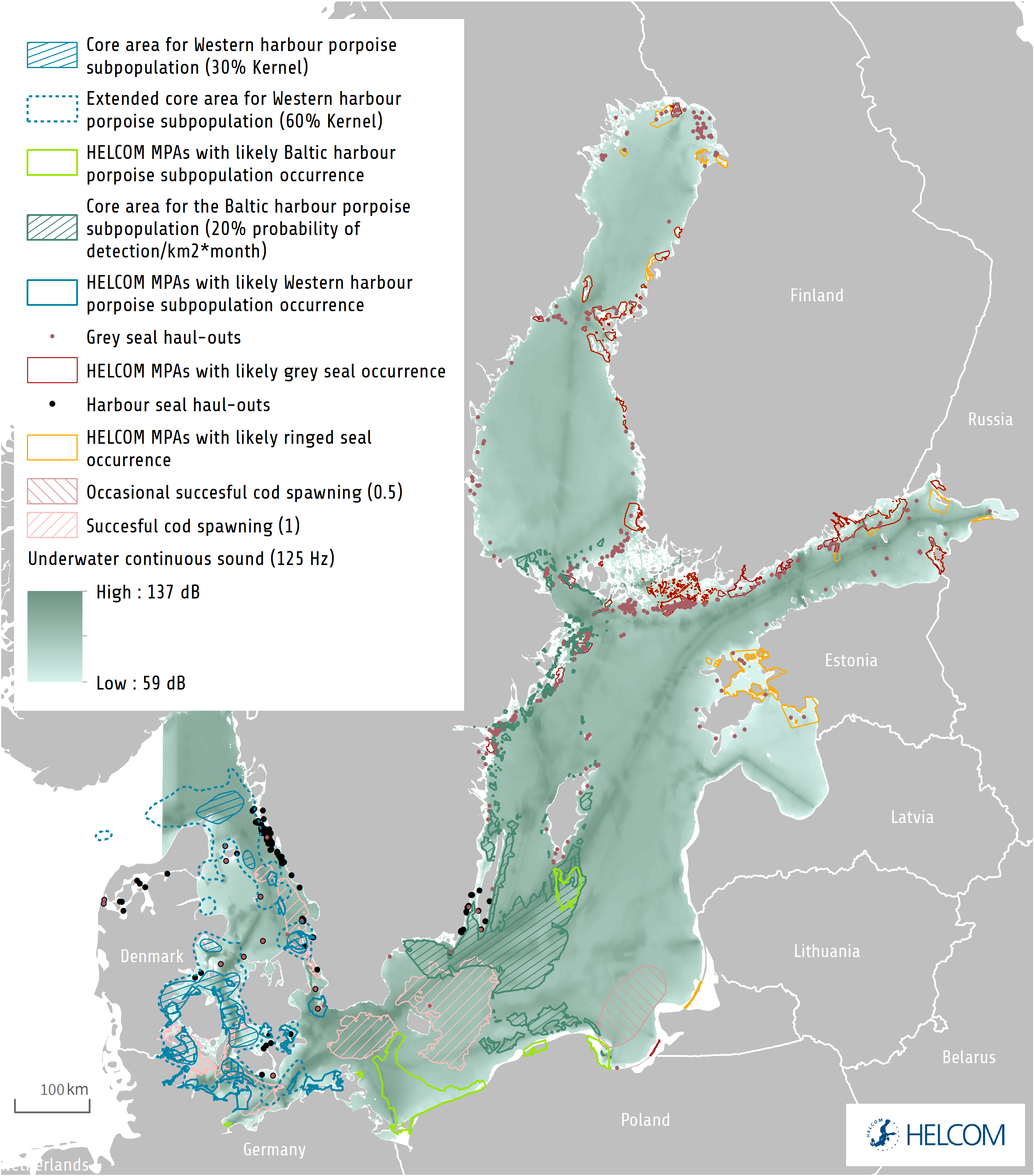 HELCOM HOLASII Fig 4.4.3 Distribution Of Sound And Important Areas For Species