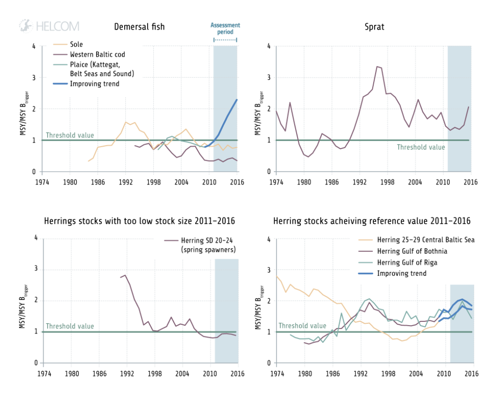 Figure 5.3.5. Development over time in the spawning stock biomass of internationally assessed fish species.